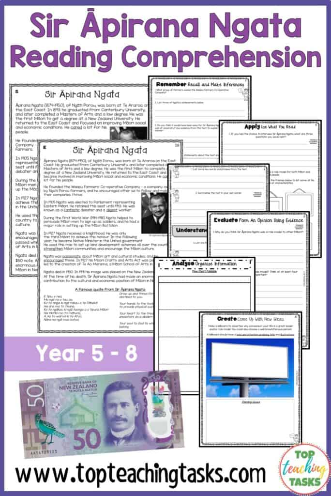 Sir Apirana Ngata Reading Comprehension Activities. Improve reading comprehension in your classroom with our differentiated Sir Āpirana Ngata Reading Comprehension resource. Learn about Sir Apirana Ngata, the prominent Maori leader who features on the New Zealand $50 banknote. This pack includes a Year Five and Six non-fiction passage, differentiated at two levels, with six pages of engaging text-dependent questions and higher-order thinking tasks.