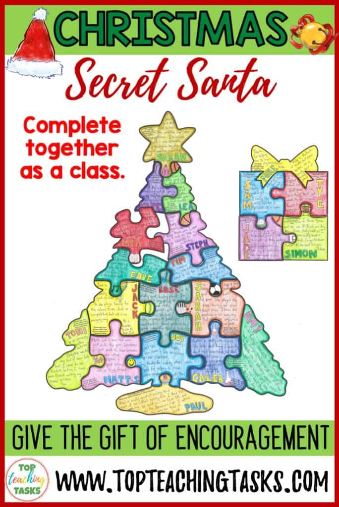 "Celebrate Christmas and promote a classroom culture of encouragement with our Christmas Secret Santa Collaborative Puzzle. Students take part in a ""Secret Santa"" game to create a collaborative jigsaw puzzle. This puzzle serves as a visual reminder of the power of encouragement, while also reinforcing the ideas of teamwork and classroom unity. Display the amazing puzzle and wow your school!"