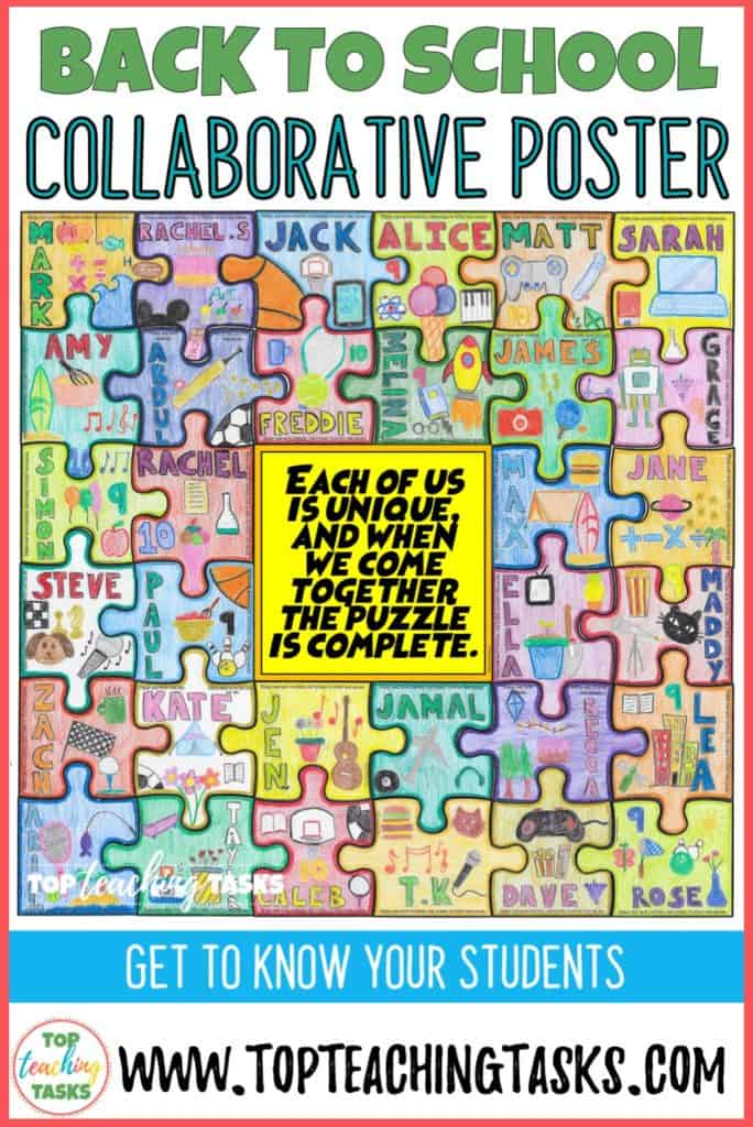 "Getting to know you collaborative puzzle. Start off the Back to School season in style with this dynamic, engaging and collaborative activity - great for first day of school activities. Get to know your students with this great ""All About Me"" activity! Students create a collaborative jigsaw puzzle that serves as a visual introduction of each child while also reinforcing the ideas of teamwork and classroom unity. Display the amazing puzzles on a back to school bulletin board to wow your school community."