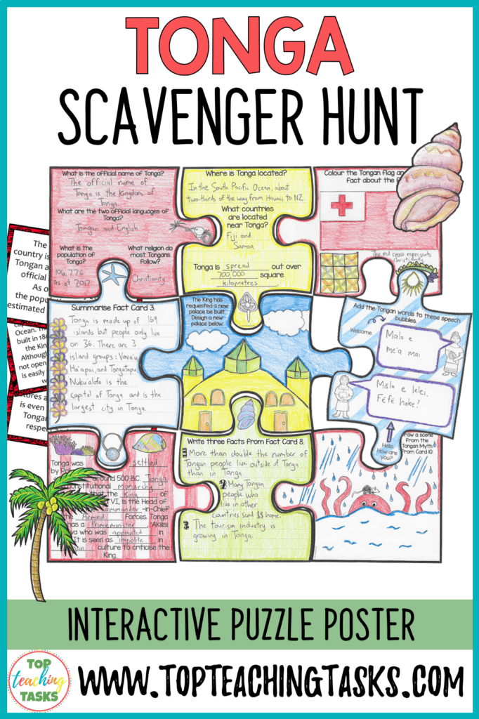 Tongan Scavenger Hunt. Engage your students with our interactive Tonga scavenger hunt and puzzle pack. Your students will learn about the geography, history, language, and culture of the Pacific nation of Tonga. This would be great for Tongan Language Week, as a social studies product, and in your guided reading program!