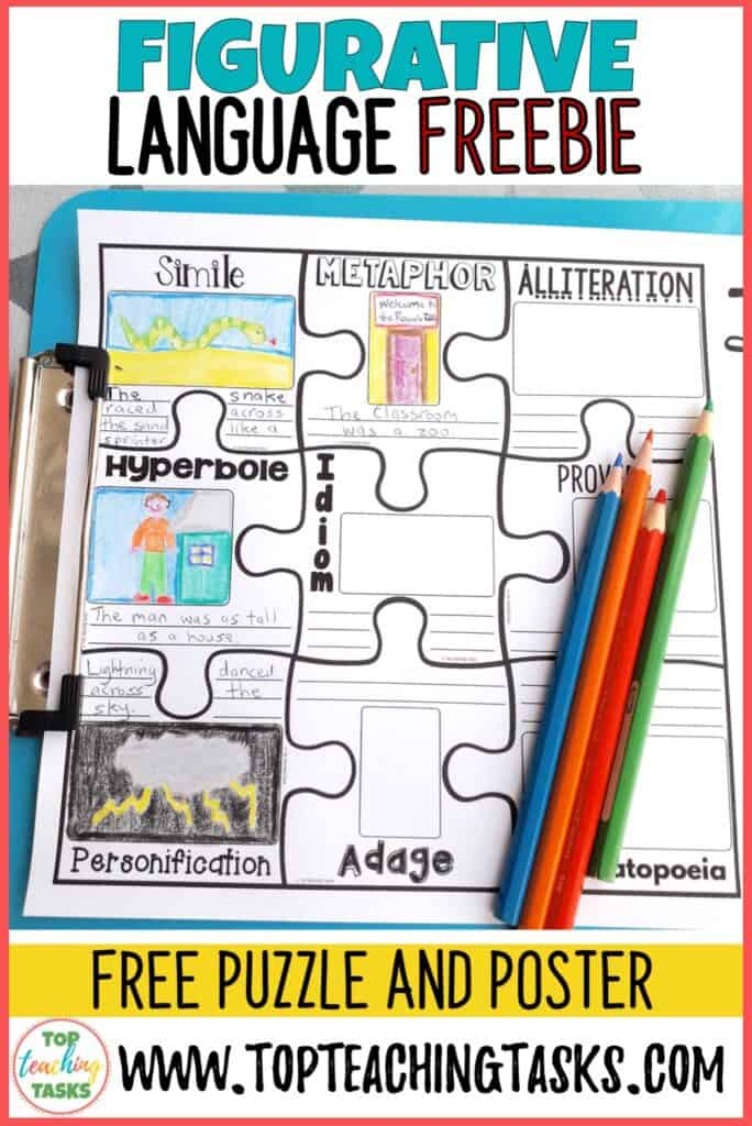 Figurative Language Freebie. help your students to learn about figurative language with this engaging puzzle. Use as a worksheet or class puzzle poster.