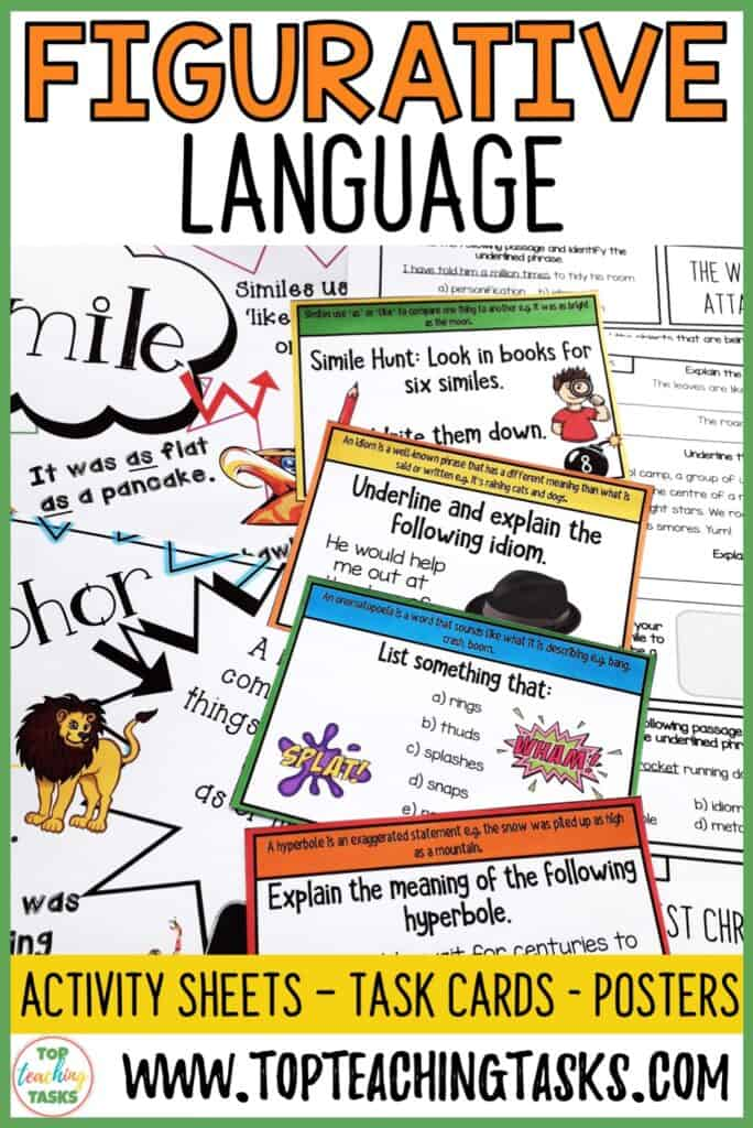 Our Figurative Language Activities feature activity sheets, task cards and posters. These activities and displays will ensure retention of each skill while encouraging the use of figurative elements in your students' writing.