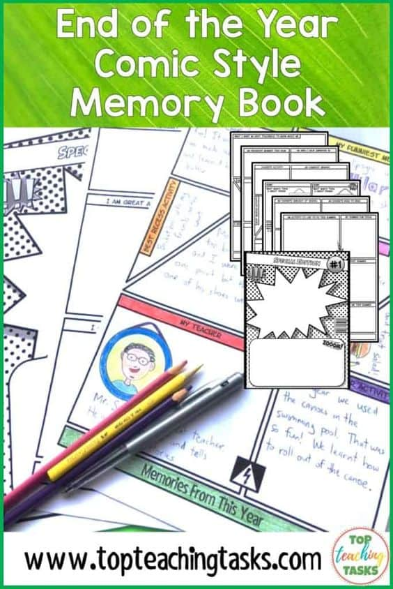 End of the Year Comic. For those who are nearing closer to the end of the school year, I know how busy it can get! Ensure your students are working right until the final bell with our End of the Year Comic-themed Memory Books! Celebrate a fantastic year and go out in style.