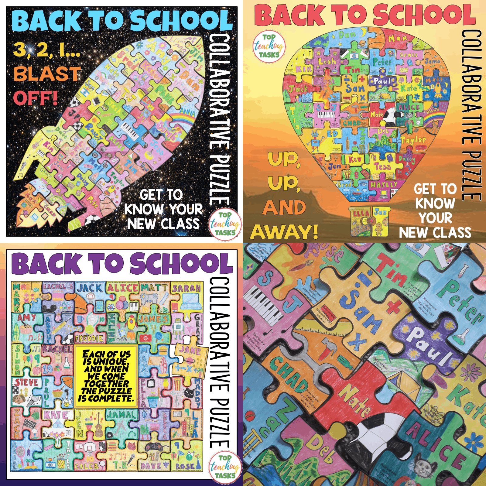 Back to School Collaborative Puzzle. I highly recommend our Getting To Know You Collaborative activity – great for the first few days of school. Studentscreate a collaborative jigsaw puzzle that serves as a visual introduction of each child while also reinforcing the ideas of teamwork and classroom unity.Display the amazing puzzle to wow your school community.