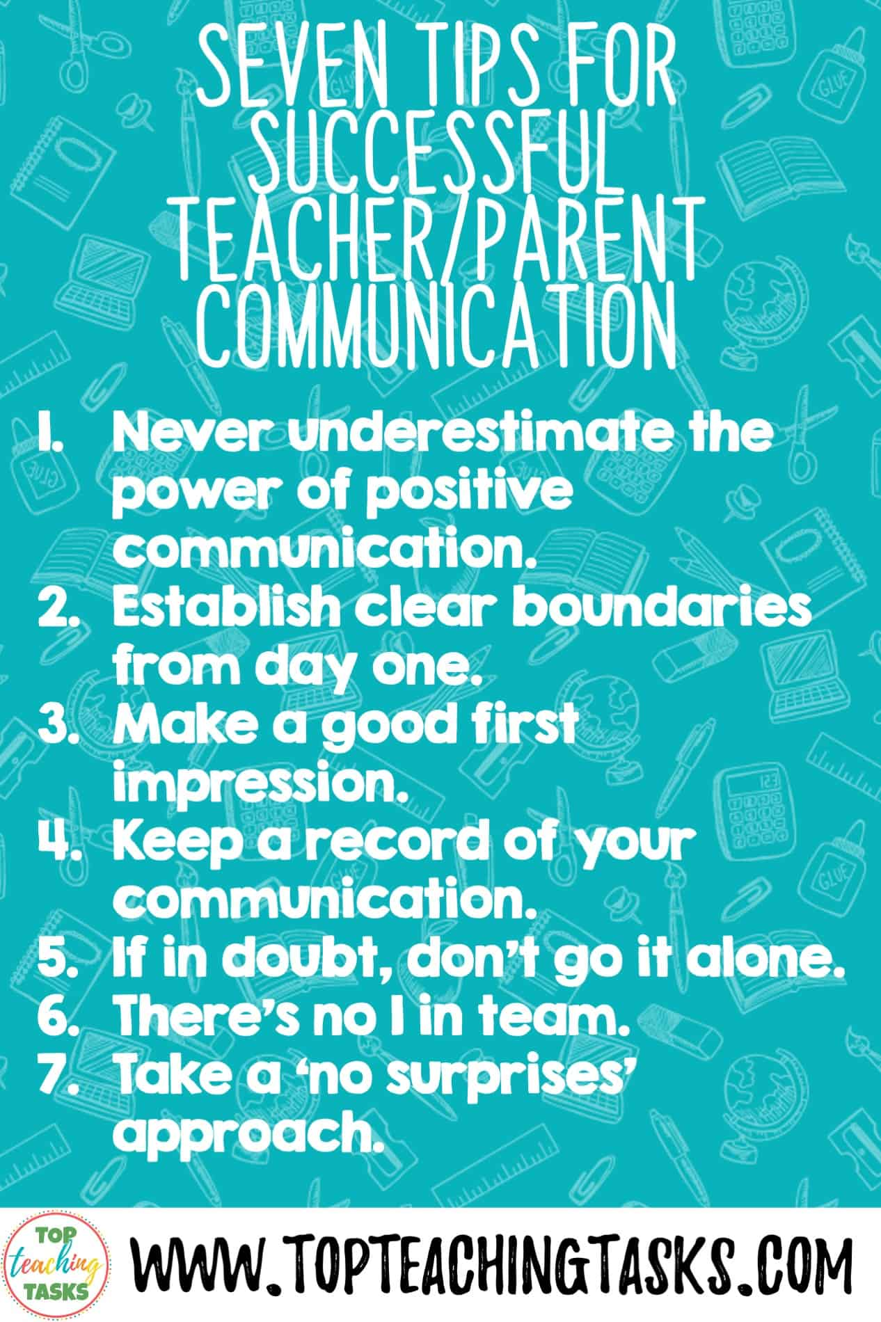 7 Tips for Successful Parent-Teacher Communication. When I surveyed trainee teachers on topics they would like advice on, the resounding and clear winner was tips for Successful Parent-Teacher Communication. From memory, this topic wasn't something covered when I was going through teacher training. However, there are so many benefits for parents being active in their child's education, and clear communication will help this to occur!