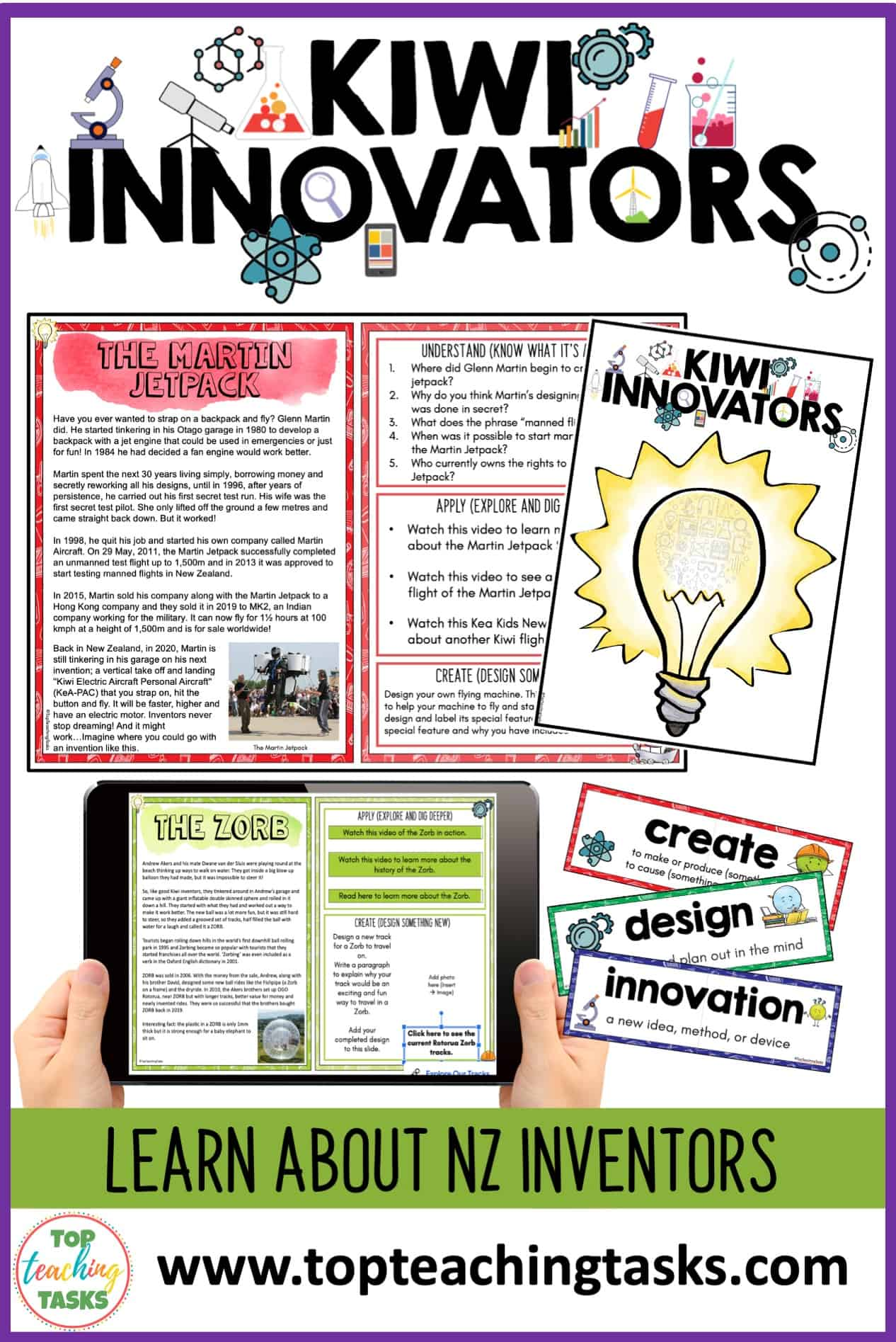 Kiwi Innovators Unit. Explore some of the fascinating Kiwi innovators and inventions that have been created in New Zealand's history. In this Kiwi Innovators unit, students will learn about 24 Kiwi innovators and their creative ideas, apply this knowledge by exploring digital links, and put their own design skills to the test with creative challenges.
